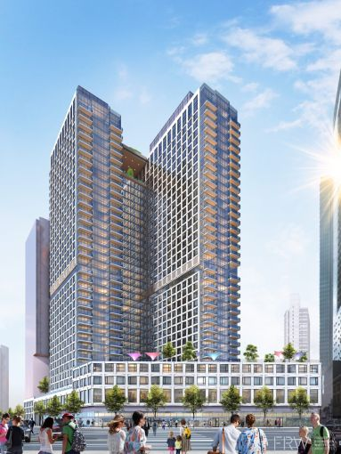 A rendering of the development at 625 Fulton Street.