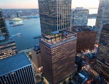 An aerial view of 100 Pearl Street.