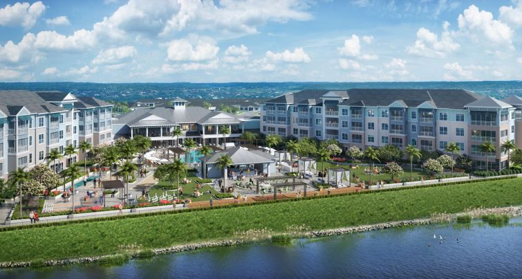 Many large Florida residential buildings on the water.