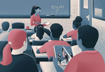 An illustration of a classroom scene as students learn about 9/11.