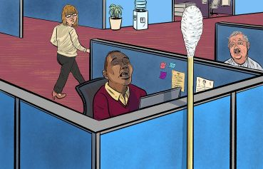 An illustration of people sitting in office cubicles, look at a giant swab with fear.