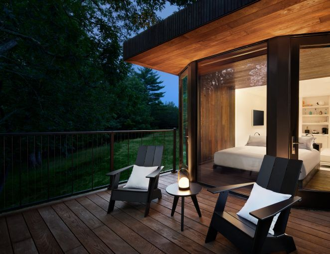"""The movable """"eco-resort"""" will open in Kingston, N.Y. later this year with custom-designed, 45-foot-long cabins that can be towed by a truck."""