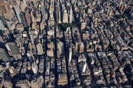 A dense array of buildings from the air.
