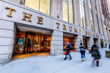 A view of the entrance to the Trump Building at 40 Wall Street in Downtown Manhattan on March 05, 2021 in New York City.