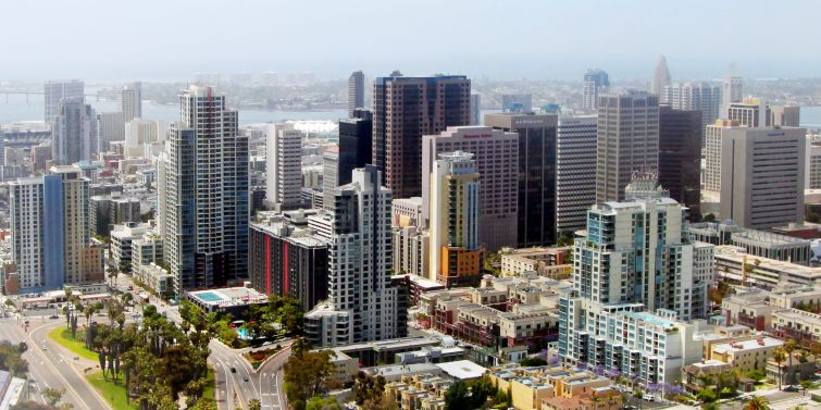 An aerial view of San Diego.