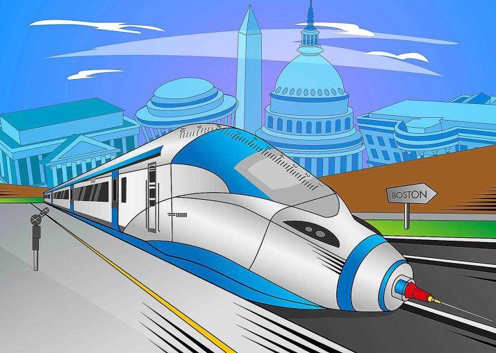 An illustration of a train shaped like a syringe.