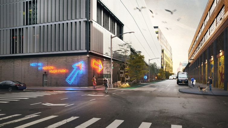 A neon sign lights the way past a white and black cross walk on a city street in this rendering.