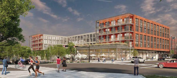 A rendering for a planned multifamily development at 4300 Ridge Avenue in Philadelphia's East Falls neighborhood.