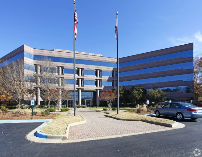 One of two mid-rise office buildings that make up Perimeter Center, a site within the massive, 3,800-acre Cummings Research Park.