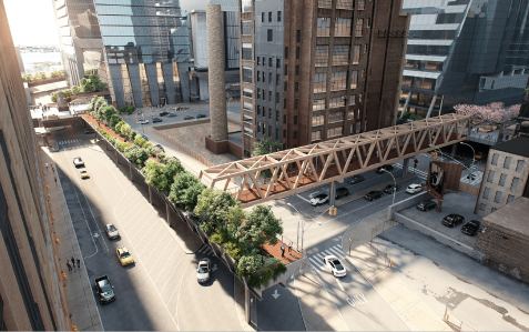 Brookfield and Empire State Development revealed plans for two timber bridges, one of which would cross Tenth Avenue from the High Line to Manhattan West.
