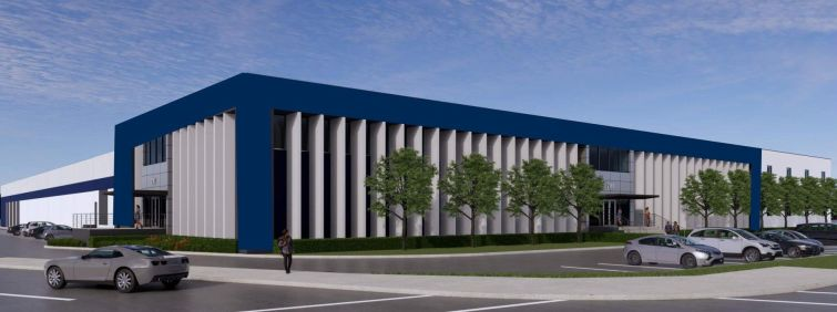 A rendering for Staley Point Capital's planned last-mile warehouse in Commerce, Calif.
