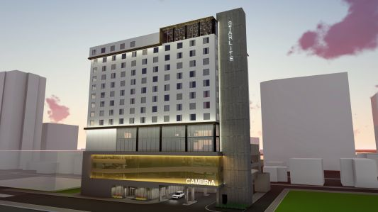 An early rendering of the Cambria Hotel that is slated for downtown Austin, Texas.