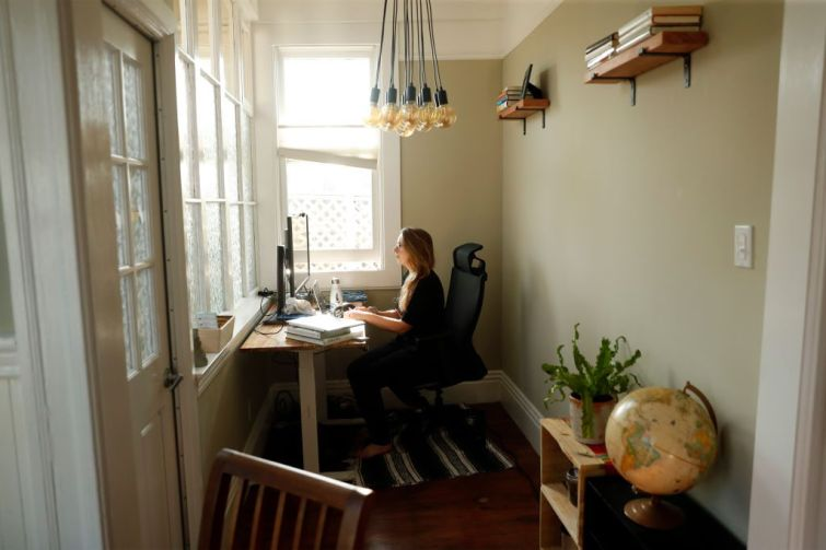 A person working from home