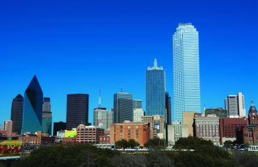 A view of the Dallas skyline.