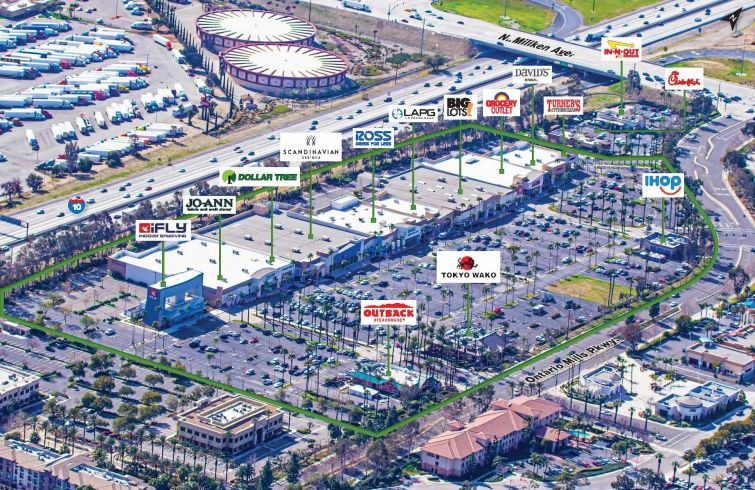The retail center is located at 4400-4510 Ontario Mills Parkway in the city of Ontario in San Bernardino County, about 10 miles east of the Los Angeles County border. Tenants include Grocery Outlet, Ross, Big Lots, Jo-Ann, Dollar Tree, and more.