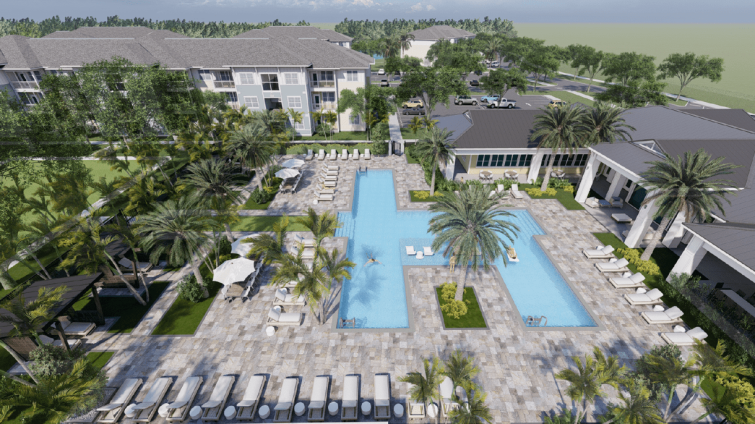 A rendering for Encore Capital Management's Sunset Walk Apartments project in Kissimmee, Fla.