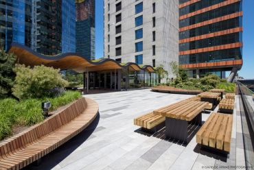 The landscaped, outdoor terrace on the fifth floor of The Jacx.