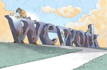 Illustration of someone scrubbing a big sign that says WeWork.